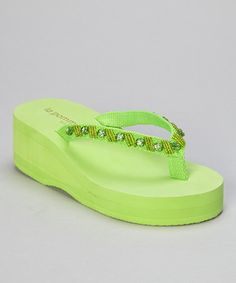 Take a look at this Key Lime Beaded Rhinestone Flip-Flop by la pomme on #zulily today!