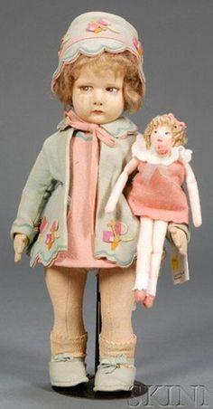 lenci doll with her doll Doll Toys, Baby Dolls, Doll Museum, Teddy Bear Toys, Bear Doll, Old Dolls, Doll Maker, Wooden Dolls, Dollhouse Dolls