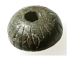 Norwegian stone whorl  Runes: 'Gunnhildr made the spindle whorl.' Spindle whorl from Hoftuft farm, Aust-Agder.1000s?    For more images, see also, http://www.runesnruins.com/runes/n188.htm