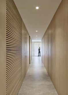 DM Apartment is a minimal apartment located in Barcelona, Spain, designed by Francesc Rifé Studio, that's divided into two main areas. Hotel Room Design, Interior Design Studio, Studio Design, Minimal Apartment, Interior Simple, Corridor Lighting, Hotel Corridor, Flur Design, Hallway Designs