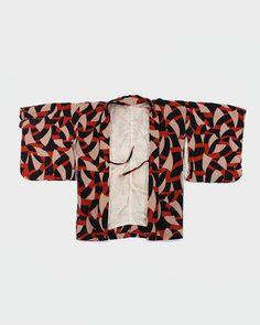 Vintage Kimono Haori Jacket, Red and Black