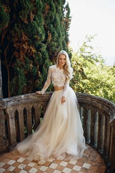 Your place to buy and sell all things handmade, Wedding crop top lace crop top crop top wedding dress crop Unique Wedding Gowns, Two Piece Wedding Dress, Western Wedding Dresses, Top Wedding Dresses, Lace Weddings, Bridal Dresses, Wedding Skirt, Wedding Lace, Wedding Vows
