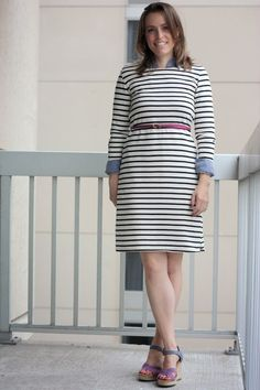 Black and White Dress striped refashioned dress with chambray, pink belt, and sandals - great transition outfit from casual workwear to weekend | www.fashionablyemployed.com