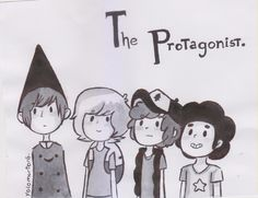 I didn't recognize Finn at first xD. His hair is long.   Over the Garden Wall//Adventure Time//Gravity Falls//Steven Universe