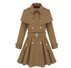 Coats For Women Trendy New Design Autumn Winter Women Overcoat Shawl Cloak Epaulet Ladies Skirt Casaco Feminino Long Wool Coat - Size Type: Regular - Gender: Women - Style: Ball Gown - Material: WOOL7