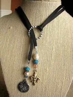 Déclaration réglable Boho daim Lariat collier frais par LeatherDiva, $41.00