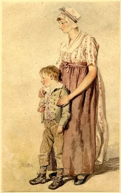 Study of a young woman and a boy; whole-length standing to left, the woman wearing a russet-coloured apron over a print dress, a cap on her head, her hands resting on the shoulders of a young boy in jacket, striped waistcoat, and breeches James Ward
