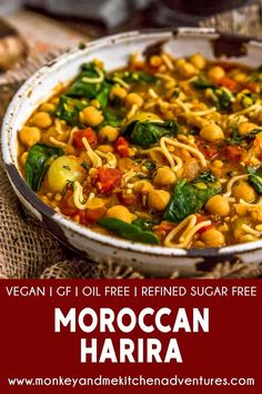 Fragrant and delicious, this soul-warming, oil-free Moroccan Harira is ultra-comforting, easy to make, and a delightful nod to the Moroccan cuisine. #wholefoodplantbased #vegan #oilfree #glutenfree #plantbased | monkeyandmekitchenadventures.com Whole Food Recipes, Diet Recipes, Vegan Recipes, Soup Recipes, Moroccan Dishes, Vegan Party Food, Clean Eating Dinner, Middle Eastern Recipes, Plant Based Diet