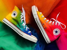 Instantly spice up any plain outfit with a little color by slipping into these tie dye rainbow Converse. These classic high tops provide a comfy fit and are expertly dyed by hand, ensuring that no two pairs are the same. Tie Dye Converse, Rainbow Converse, Custom Converse Shoes, Converse All Star, Tie Dye Shoes, How To Dye Shoes, Rainbow Shoes, Outfits With Converse, Custom Shoes