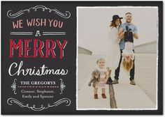 Chalked Merriment - Flat Holiday Photo Cards in Bright Red or Leaf | Petite Alma