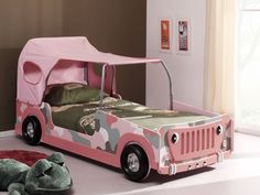 Bright Pink Car Shaped Bed Design for Cute Girls Bedroom with Green Bed #unique #interior #design // #interiordesign