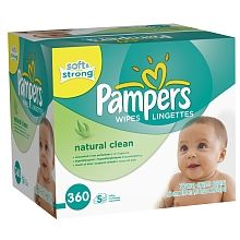 Pampers Natural Clean Lingettes Non Parfumées 360ct