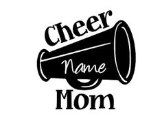 """Cheer Mom Vinyl Car Decal / Sticker with Custom Name 6"""" x 5"""" on Etsy, $4.95 Sports Decals, Car Decals, Vinyl Decals, Cheer Gifts, Cheer Mom, Cheer Competition, Silhouette Projects, Cricut Explore, Heat Transfer"""