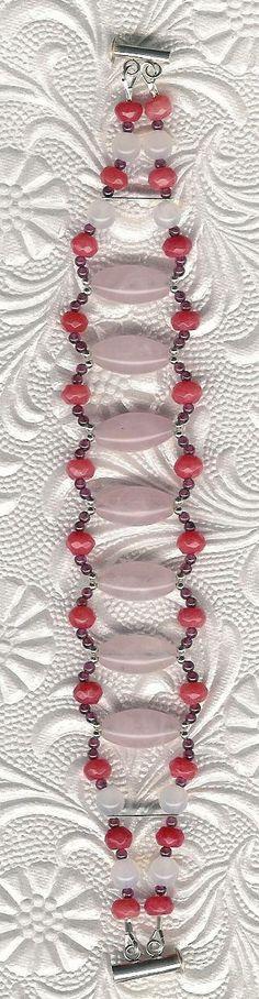 Bracelet  Rose Quartz Jade Garnet Sterling by ChicStatements