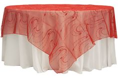 """Embroidery Organza w/Sequin 90"""" Overlay - Red $10.99 Purchase at www.cvlinens.com #wedding #event #party #tablecloths #purchase #sale #bodas #eventos #fiestas #quinceanera #manteles"""
