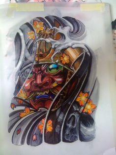 Samurai mask tattoo | Hand Drawn Tattoo Design Of A Samurai Helmet With His Mask