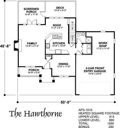 Lower Floorplan image of The Hawthorne House Plan.... like the workshop off the Garage