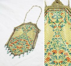 Antique Mandalian Painted Mesh Purse