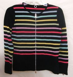 Anthropologie 100% Cashmere Cardigan Striped Sweater One Girl Who Womans Small S #AnthropologyOneGirlWho #Cardigan