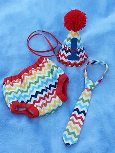 Baby boy party set/ birthday outfit/smash the cake/first birthday outfit rainbow chevron on Etsy, $42.00
