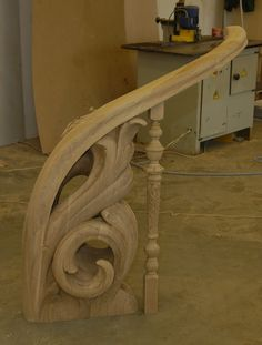 Wood Carved  Stair Rail.Carved Handrail