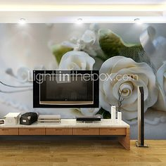 JAMMORY Art Deco Wallpaper Contemporary Wall Covering,Other White Roses 3D Stereoscopic Large Mural Wallpaper - USD $68.99