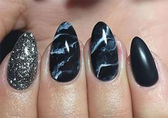 Black Marble Nails Art