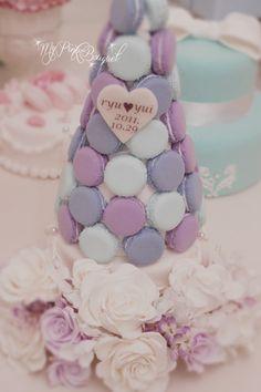 013//マカロンカラー:ピンク寄りパープル×ブルー寄りパープル×淡い水色 ガーランド:ホワイトローズ、ピンクローズ、ライラック(アーテイフィシャル)