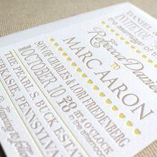 Letterpressed wedding invites