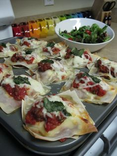 "Lasagna Cups & Salad --recipe from Aarti Sequeira's show, ""Aarti Party"""