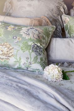 Bella Notte Camille is a beautiful floral pattern fabric of peonies available as throw pillows and fabric yardage. J Brulee Home Asheville, Pillow Fabric, Bed Pillows, Cushions, French Country Bedding, Shabby Chic Bedrooms, Cottage Interiors, White Cottage, Linens And Lace