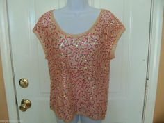 Victoria's Secret Ludi Embellished Tan Top with Multi Sequins Size XL Ladies NEW #Ludi #KnitTop #Clubwear