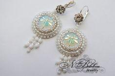 Bead+embroidery+Earrings+white+dragonfly+Ready+от+NadezhdaBelokon,+$65.00