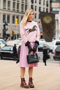 70 Looks From The Fashion Olympics #refinery29  http://www.refinery29.com/ny-fashion-week-street-style#slide51  A pretty-in-pink outfit that's not even a bit saccharine. MSGM and Toilet Paper Horse Sweatshirt, $255, available at Opening Ceremony.