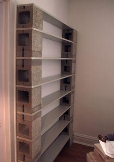Cinder block bookcase