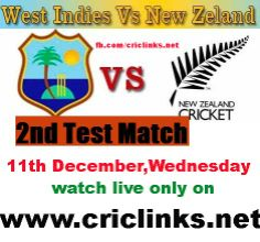 11th DECEMBER.Wednesday 2nd Test between NZ vs WI will be played at Wellingtion...NZ left bitterly disappointed after rain prevented New Zealand from scoring the remaining 33 runs needed for a victory. Chasing a target of 112, the hosts were 79/4 before rain scuppered chances of any play after tea on the final day at Dunedin.But they have 2nd chance in 2nd test.match will be start 2.00 AM PST.2.30 AM IST.Watch live action only on http://www.criclinks.net/