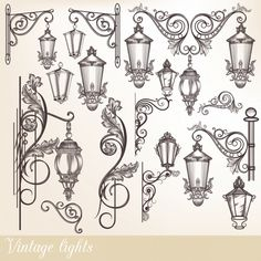 Collection or set of vintage hand drawn lights street lamps in engraved retro style Night Street, Lamp Tattoo, Molduras Vintage, Architecture Drawing Art, Illustration Noel, Vintage Lamps, Antique Lamps, Iron Art, Street Lamp