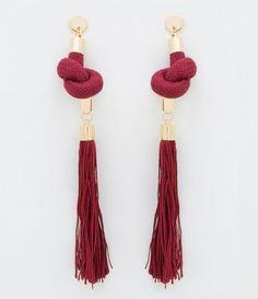 Tassel Jewelry, Fabric Jewelry, Beaded Jewelry, Handmade Jewelry, Fancy Earrings, Red Earrings, Jewelry Crafts, Jewelry Art, Jewelry Design