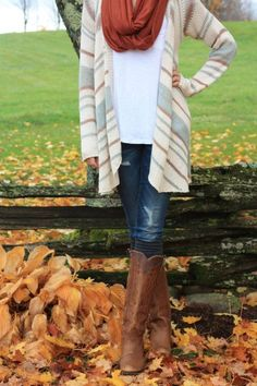 Striped sweater, blue jeans, white t-shirt, brown high boots. fall autumn women fashion outfit clothing style apparel @roressclothes closet ideas