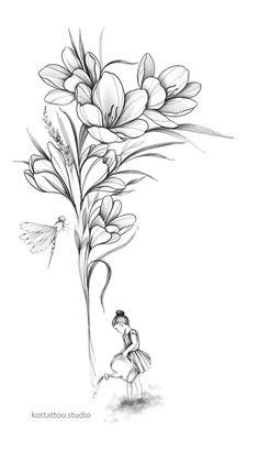 Tattoo Design Drawings, Flower Tattoo Designs, Flower Tattoos, Cool Drawings, Small Tattoos, Leg Tattoos Women, Girl Tattoos, City Flowers, Soul Tattoo