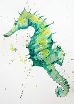Inspo from our friends! Evoke the deep greens of the ocean by painting this simple green seahorse in watercolour Join me as I guide you from start to finish on your