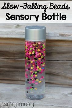 Slow-Falling beads sensory bottle - such a pretty idea!Tap the link to check out great fidgets and sensory toys. Check back often for sales and new items. Happy Hands make Happy People! Sensory Table, Sensory Play, Diy Sensory Toys, Sensory Boards, Sensory Rooms, Infant Sensory, Infant Activities, Preschool Activities, Dementia Activities