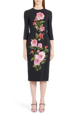 Dolce&Gabbana Placed Rose Print Cady Sheath Dress