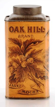 Oak Hill Brand 1-Pound Coffee Tin. Early tin manufactured by E.C. Hall & Company in Brockton, MA. Beautiful graphic images of oak leaf with acorns.