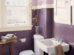 Bathroom With Purple Walls And White Pedestal Sink : Decorate Your House With Purple Walls