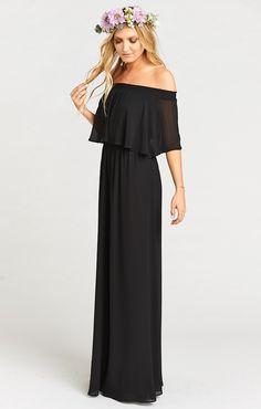 Show Me Your MuMu HACIENDA MAXI BRIDESMAID DRESS ~ BLACK CHIFFON