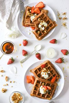 strawberry rosewater waffles with maple toasted walnuts .---a nice Mother's Day brunch! Breakfast Recipes, Dessert Recipes, Desserts, Food Flatlay, Good Morning Breakfast, Pancakes And Waffles, Breakfast Waffles, Waffle Recipes, Churros