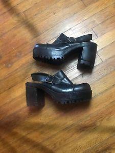 283f22887 Vtg 90 s Black Patchwork Chucky Heel 9 Co. Ladies Sz.8M Mules Ankle Strap  Grunge