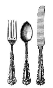 vintage cutlery clipart, black and white clip art, old fashioned spoon fork knife image, antique silverware pattern illustration, kitchen printable