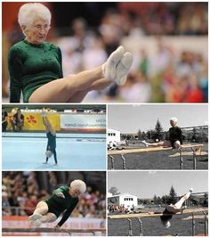 "86 YEARS OLD     – Johanna Quaas is a true inspiration to all of us as she is spending her days tumbling, spinning and twirling on the gym floor and on the parallel bars no less! Just recently, Cottbus, Germany hosted the 2012 Cottbus World Cup where Quaas performed her exhibition routine on the floor and on the parallel bars. Although the 86 year old has won 11 medals in senior gymnastics competitions, she ultimately just continues to practice ""for fun."""